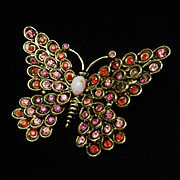 Butterfly Brooch Pin Hollycraft Rhinestones Vintage Figural Insect