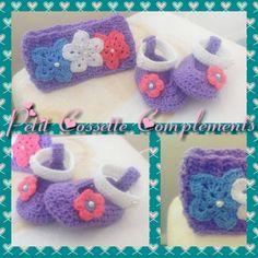 Hermoso conjunto de diadema y zapatitos para bebe, tejido a crochet y modelo propio. Colores combinables.
