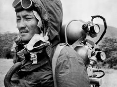 Sherpa Tenzing is seen in this June 30, 1963 file photo, wearing the clothing and oxygen equipment in which he and Edmund Hillary reached the summit of Mount Everest