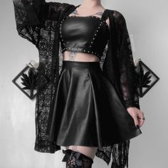 Gothic Outfits, Edgy Outfits, Mode Outfits, Grunge Outfits, Cute Casual Outfits, Pretty Outfits, Girl Outfits, Egirl Fashion, Dark Fashion