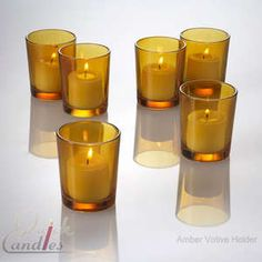 Lot of 12 Amber Glass Votive Candle Holders | eBay