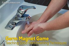 Play this version of the Germ Magnet game to teach Cub Scouts how important proper handwashing is. (new Cub Scout Adventure) Cub Scout Games, Cub Scout Activities, Cub Scouts Wolf, Tiger Scouts, Girl Scouts, Proper Hand Washing, Wolf Den, Obsessive Compulsive Disorder, Scout Leader