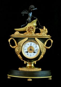 Antique French Empire Dore Bronze &  Patina Clock with Cherub and swans 16″ x 10″ x 5″