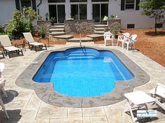 Swiming Pools Fiberglass Pool With Patio Furniture Also Outdoor Floor Tiles And Patio Designs Besides Outdoor Floor Paint  Stainless Pool Loungers  Plastic Patio Chair  Wooden Outdoor Table  In Ground Steps  Hand Rails   The Advantages of Fiberglass Pool