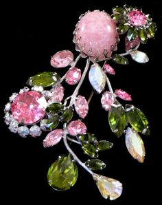 """Very good!<br/><br/>Silver tone metal base with flower bouquet design. BIG AND IMPRESSIVE AND BEAUTIFUL! Pink art glass and rhinestone with green and AB rhinestone accents. About 3 5/8"""" x 2.5"""". 