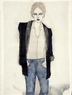 jeans and blazer Illustration Mode, Watercolor Illustration, Illustration Fashion, Fashion Illustrations, Watercolor Paintings, Fashion Sketchbook, Fashion Sketches, Fashion Drawings, Fashion Poses