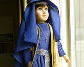 "Maid Marian 23"" OOAK handpainted my twinn / My Twinn doll in blue/ gold 12th century Medieval gown and surcoat"