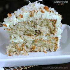 Watergate Cake: pistachio, cocounut, and pudding in a delicious layer cake!