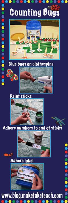 Adorable math center activity. FREE printable to make your activity-bugs, numbers and a sticker.