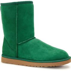 UGG Australia Women's Classic Short Pine Boots ($155) ❤ liked on Polyvore featuring shoes, boots, green, patent leather boots, patent boots, short boots, low heel shoes y ugg® australia boots