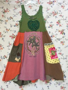 Upcycled Tank Dress Colorful Patchwork T-Shirt Dress