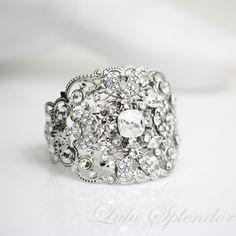 Wedding Jewelry Bridal Bracelet Swarovski Rhinestone Cuff wide bracelet FAITH via Etsy.