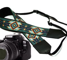 Native American Camera strap.  Southwestern Ethnic Camera strap.  DSLR Camera Strap. Camera accessories.  Nikon Canon camera strap. Green by InTePro on Etsy https://www.etsy.com/listing/207125736/native-american-camera-strap