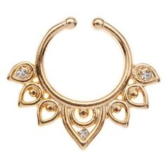 Ornate Crystal Septum by Orelia (410 CZK) ❤ liked on Polyvore featuring jewelry, gold, gold tone jewelry, artificial jewellery, topshop, crystal stone jewelry and imitation jewellery