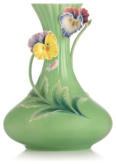 Franz Porcelain Pansy Vase When Happiness Knocks on the Door