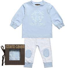 Roberto Cavalli Baby Boys Blue Cotton Top & Trousers Set at Childrensalon.com