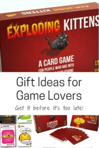 The Exploding Kittens family card game.  Lasers and kittens, what more could you want?