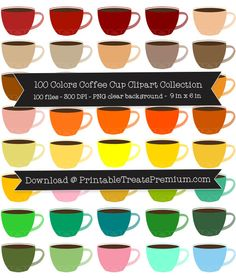 100 Colors Coffee Cup Clipart Collection  Stop by my Etsy Shop: www.etsy.com/shop/TeoldDesign