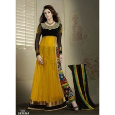 Rozdeal Elegant Yellow And Black Color Embroderied Salwar Suit
