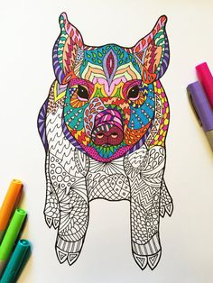 PDF Zentangle Coloring Page: Sitting Pig by DJPenscript on Etsy
