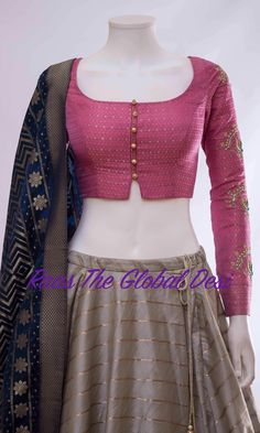 Raas The Global Desi lehenga Indian dress chaniya choli gown saree Choli Designs, Lehenga Designs, Saree Blouse Neck Designs, Fancy Blouse Designs, Saree Blouse Patterns, Blouse Designs Wedding, Latest Blouse Designs, Chiffon Saree, Stylish Blouse Design