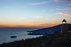 Sunset from Saranda's Castle, Albania by rear view mirror Albania Travel, Visit Albania, Airline Deals, English Castles, Destinations, Clearwater Beach, Europe, Luxor Egypt, Future City