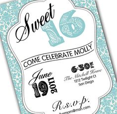 Very nicely designed Sweet 16 invitation