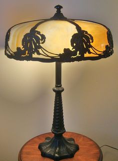 Art Nouveau Arts & Crafts Bent Caramel Slag Stained Glass Lamp With Floral Design Mission Bungalow 8 Panels