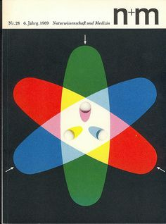 """N+m"", 'Naturwissenschaft und Medizin' by: ['Boehringer Pharmaceutical Company], Nr.° - Science Magazine Cover [Graphic Illustration] by Erwin Poell (b. Japanese Graphic Design, Vintage Graphic Design, Buch Design, Design Art, Layout Design, Cover Design, Cover Art, Illustration Design Graphique, Type Illustration"