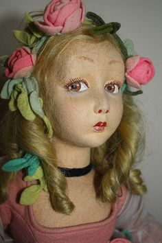 Gorgeous Tagged Lenci Salon/Boudoir Lady - Lillian Gish face from ribbonsantiques on Ruby Lane