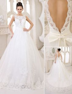 Ivory Lace Tulle Wedding Dress with Chapel Train  Milanoo
