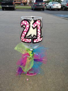21st Birthday Glass #21stbirthday #21 #birthday #birthdaygift #girly