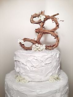 If I had a cake topper...Rustic Grapevine Wedding Cake Topper Any Letter by TheOriginalTwig, $29.00