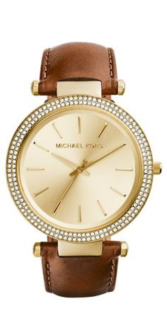 MICHAEL Michael Kors Michael Kors \u0027Darci\u0027 Crystal Bezel Leather Strap Watch,  available at