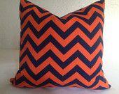 CHEVRON  Decorative Throw Pillow covers 20x20 - Designer Fabric   navy orange PAIR  of  ZIGZAG  pillows