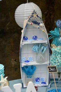 "We received this gorgeous party Submission from Bernadette from Sparklebox an ""Under the sea, Nautical theme"" - Birthday for Elena Zoe. Under The Sea Theme, Under The Sea Party, Baby Shower Themes, Baby Boy Shower, Baby Showers, Boot Regal, Nautical Party, Nautical Theme Baby Shower, Nautical Wedding"