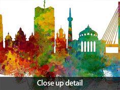 Bucharest Skyline Romania, Cityscape with City Name, Painting Art Print Poster Framed Prints Uk, Canvas Art Prints, Poster Prints, Map Of Michigan, Kids World Map, Cityscape Art, London Skyline, Color Depth, Watercolor Art