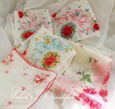 vintage rose hankies handkerchief lot