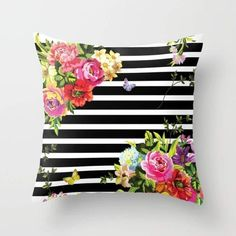 Bright Florals with Stripes Accent Pillow Cover - Throw Pillows - Decorative Pillows Floral Cushions, Floral Throw Pillows, Decorative Pillows, Sofa Cushions, Printed Cushions, Accent Pillows, Cushion Covers, Throw Pillow Covers, Cushion Pillow