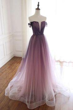 Unique Gradient Purple Tulle Long Prom Dress, Off Shoulder Evening Dress – Prom 2020 Ombre Prom Dresses, Pretty Prom Dresses, Gala Dresses, Tulle Prom Dress, Elegant Dresses, Evening Dresses, Beautiful Dresses, Sweet 16 Dresses, Sweet Dress