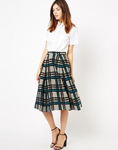 Midi Skirt in Brushed Check from ASOS