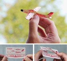 French Paper promotional piece by CSA Design. Perforated balsa wood card can be broken down and assembled into a functional glider.