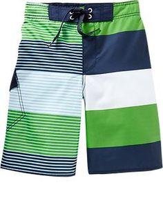 Boys Variegated-Stripe Swim Trunks   Old Navy