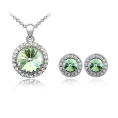 Amazon.com: Dreamslink Fashion Jewelry Sets 18K White Gold Plated Swarovski Elements Austria crystal Green Color Lovely Round Big Crystal Necklace, Earrings83852: Dreamslink: Jewelry
