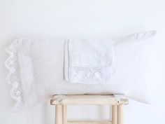 Antique Pair of White Linen Pillowcases Hand Embroidered