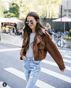 Suede and Ripped Jeans - Something Navy Suede Jacket, Vest Jacket, New York Outfits, Something Navy, Brown Jacket, Comfy Casual, Affordable Clothes, Simple Outfits, Boyfriend Jeans