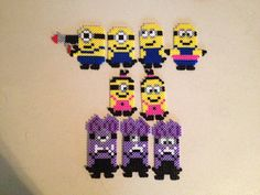 Minions made from Hama Beads, great holiday activity for the kids, using the Ikea Pyssla beads!