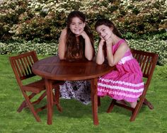 Classic Kids' 3 Piece Teak Table and Folding Chair Set