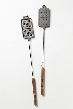 Campfire Waffle Iron. Pancakes while camping are good, but waffles would be amazing.