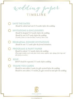 Via Emily McCarthy   Wedding Paper Timeline